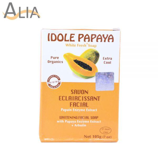 Idole papaya whitening facial soap with papaya enzyme extract (105g)